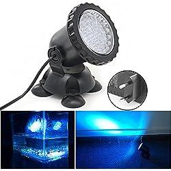 Xcellent Global Foco de 3.5W 36 LED sumergible para acuario Punto de luz para estanque de jardín, estanque, fuente, rocalla (AZUL) M-LD105