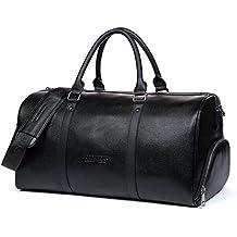 BOSTANTEN Hombre Bolsa viaje Cuero Genuino Bolsa equipaje Weekender Bolsas piel XL para gimnasio / deporte Grande