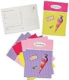 Unbekannt 6 tlg. Set Einladungskarten - Schultüte mit Glitzer - für Mädchen - Postkarte z.B. für Schulanfang / Schulbeginn - Einladung Karte Schuleinführung Schule Geburtstag - Zuckertüten Postkarten