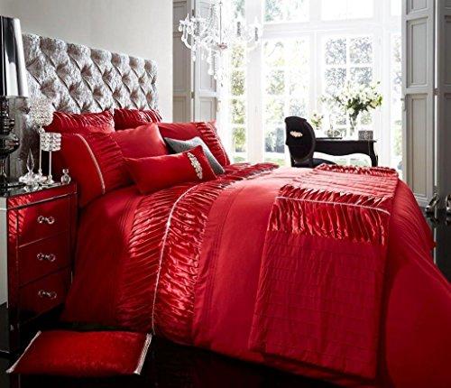 Luxus Bettbezug mit Kissenbezug neue Bettwäsche (Alina Rot, Konig) (Rot Bettwäsche-set König)