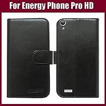 PREVOA® 丨 Flip PU Case Protictive Funda para Energy Sistem Phone Pro HD - Smartphone 5,0 pulgadas - Negro -