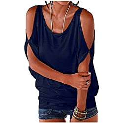 Imixcity Verano Camisas De Hombro Frío Blusas Tops del Batwing Camisetas sin Mangas Camiseta Casual Camiseta para Mujer (S, Azul oscuro)