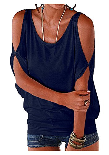 Imixcity Verano Camisas De Hombro Frío Blusas Tops del Batwing Camisetas sin Mangas Camiseta Casual Camiseta para Mujer (XXL, Azul oscuro)
