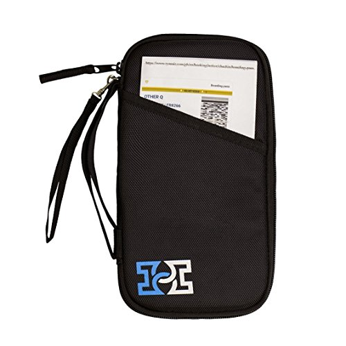 Travel Wallet Passport Holder Family Document Card Organiser RFID Secured Holiday Money Bag Pouch with Free Luggage Belt/Strap