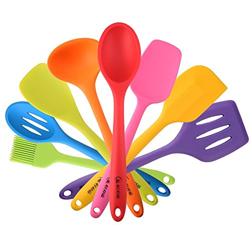 TOPQSC Heat Resistant Silicone Cooking Utensil Set (8 Pieces)-Includes:Turner, Slotted spoon , Ladle ,Spoon, Spoon Spatula, Spoonula, Spatula & Basting brush (Bunt)