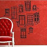 Vinilo instyledecal woooowltd negro ventanas de la habitación infantil dibujos a lápiz del arte de la pared papel adhesivo