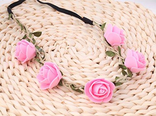 HJHY Guirlande, enfant Fleur vine Roses Bandeau mariée Coiffe Coiffure Bande Bandeaux Cartes d'émission Performance Accessoires de cheveux (Couleur : Rose)