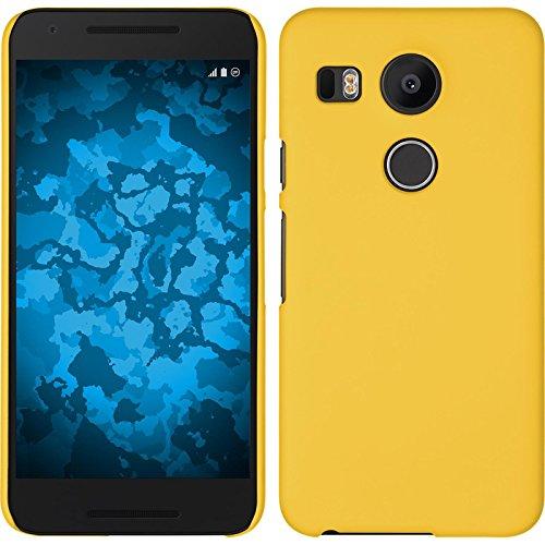 PhoneNatic Case kompatibel mit Google Nexus 5X - Hülle gelb gummiert Hard-case + 2 Schutzfolien 5 X Hard Case