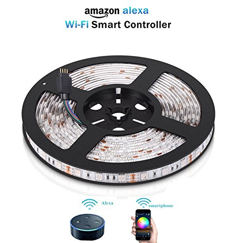 Smart Alexa LED Light Strip 5M/16.4Ft ,Wi-Fi, Dimmable,Smartphone Controlled and Work with Alexa For Voice Control,UK power plug,16 million Color,Not Hub Requires