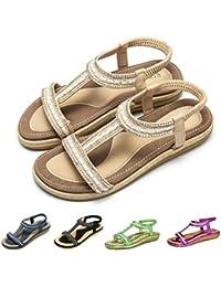 3e6eb0e76a5 gracosy Sandalias Planas Verano Mujer Estilo Bohemia Zapatos para Mujer de  Dedo Sandalias Talla Grande 37