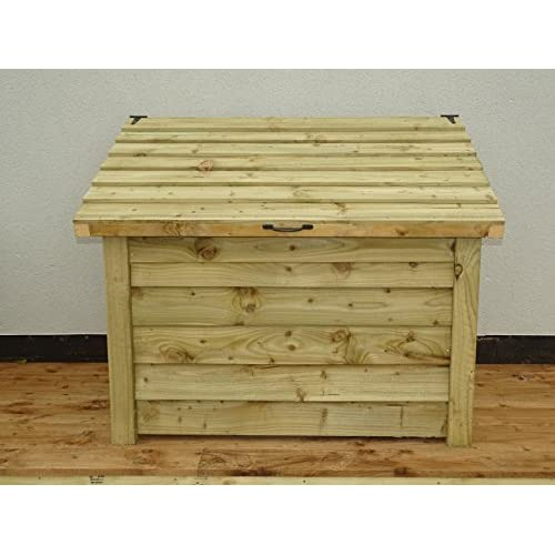 Arbor Garden Solutions Wooden Log Chest Storage (1.14 cubic meters capacity) (W-127cm, H-104cm, D-87cm) (Light Green (Natural))