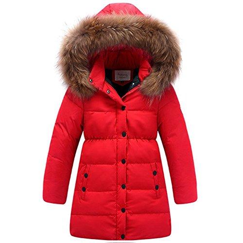 Daunenjacke Kinder Winterjacke mit Kapuze Daunenmantel Lang Mädchen Warm Jacke Verdickte Wintermantel