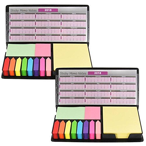 Memo-Klebezettel, Notizzettel, Ordner aus Leder, Schreibtisch, Indexkarte, Registerkarte, Kalender, ideal für Schule/Büroarbeit 2er-Pack