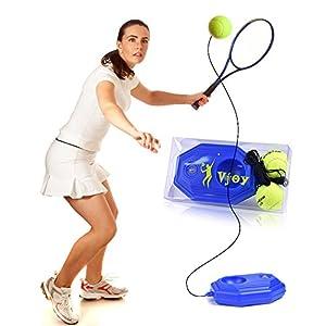 VPower Tennis-Trainer, Halterung mit einem Seil zum Solo trainieren, inklusive 2 Tennisbällen, hoch qualitative Verarbeitung
