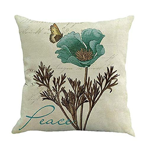 Wiwi.f Vintage Floral Bedruckte Baumwolle und Leinen Kissen Set Home Sofa Kissenbezug Size 45 * 45cm (Peace)
