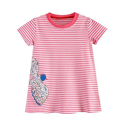 Mädchen Kleider Longra Kinderkleider Gestreift Kleid Kinder Baumwolle Kleider Cartoon Kurzarm T-shirt Kleid Festliche Kindermode Sommerkleider Strandkleider (Pink, 120CM 5Jahre) (Mädchen Bekommen Gestreift)