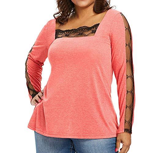 Damen Oberteile MYMYG Mode Frauen Casual Plus Size Spitze Panel Square Neck T-Shirt Tops Solide Bluse Herbst und Winter Sweatshirt(Orange,EU:44/CN-3XL)