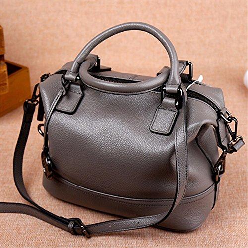 Olio cuoio cera Vintage messenger bag ladies Borsetta donna borsa borse per donne,grigio2 Grigio 1