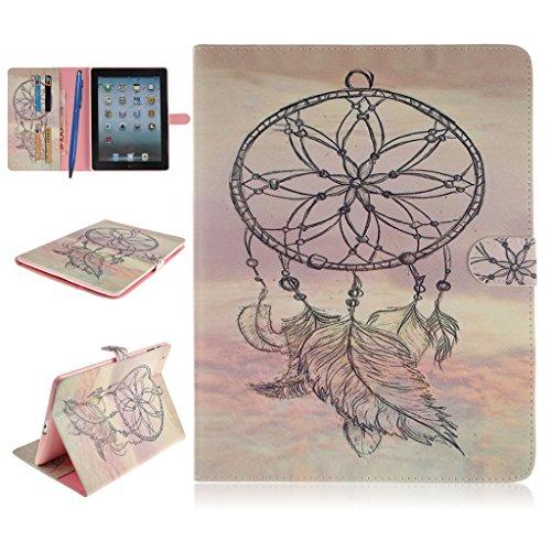 iPad 2/3/4 Funda,Careynoce Atrapasueños León Tigre Pattern Flip PU Cuero Carcasas Funda Case Cover para Apple iPad 2 iPad 3 iPad 4 (9.7 pulgada) - Atrapasueños
