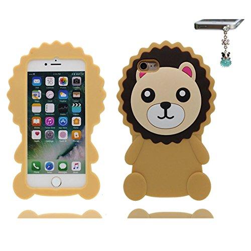iPhone 7 Plus Custodia, morbida guarnizione TPU in gomma antigraffio protettiva Case copertura per iPhone 7 Plus 5.5 Cover + tappi antipolvere / Cartoon Progettato 3D rossetto Sexy giallo