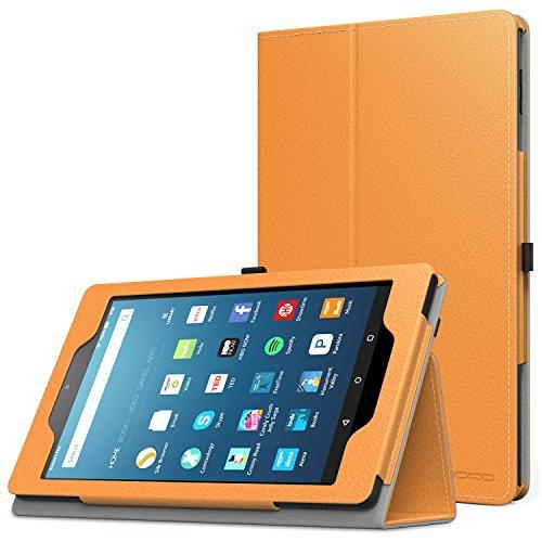 MoKo Étui Housse pour tablette Fire HD 8 - Fin et Pliable pour Tablette Fire HD 8 (6ème génération - modèle 2016), Bleu (Auto Réveil / sommeil) A-Orange