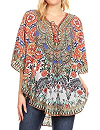 nuovo concetto dc118 aa242 Amazon.it: poncho - Bluse e camicie / T-shirt, top e bluse ...