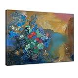 Bilderdepot24 Leinwandbild - Alte Meister - Odilon Redon - Ophelia unter den Blumen - 120x90cm XXL einteilig - Kunstdruck - Bild auf Leinwand - Wandbild