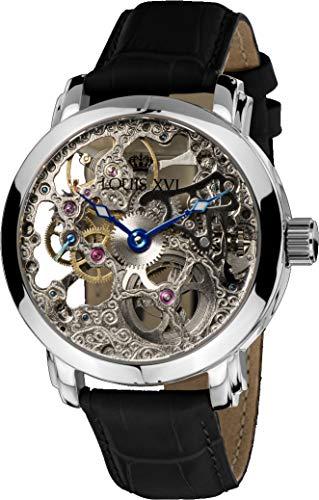 LOUIS XVI Herren-Armbanduhr Versailles Silber Handaufzug Automatik Skeleton Analog echtes Leder Schwarz 334 -