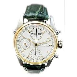 Men Eberhard 32012B Breaker quandrante Steel White Leather Strap Watch