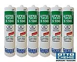Sparset 6x Otto S100 Sanitär Fugen Silikon Bad Dusche Küche pilzhemmend und dauerelastisch 300ml hellgrau Nr.21
