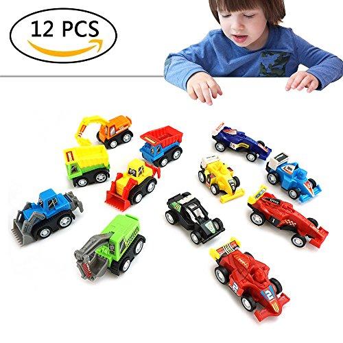 Juguetes para Niños de 3-6 Años, Friday Mini Carros de Juguete por 3 4 5 6 Edad Chicos 12 Paquete Halar Espalda Regalos de Coches para Niños de 3-6 Años FDESC12