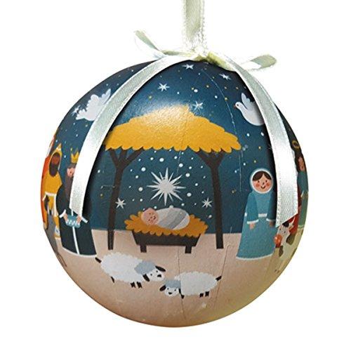 Decoupage Christbaumschmuck mit Schleife zum Aufhängen, 7,6 cm, 6 Stück Sternenlicht, Christi Geburt blau