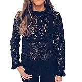 Damen Langarmshirt, Mode Lace Bluse Sweatshirt Frauen Sexy Pullover Rollkragenpullover Klassisch Tunika zum zelten von ABsoar