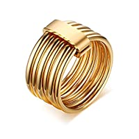 Novelty Modern Stainless Steel Six-Ring Combination Ring Gold Plated Men Women