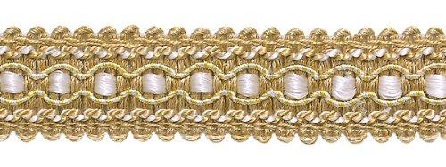 Doré clair, Ivoire 2,5 cm Imperial II Gimp Tresse Style # 0125ig Couleur : Ivoire Doré – 2523 (vendu au mètre)