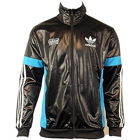 Para hombre Adidas Originals Chile 62 TT negro de chándal para Retro Look de rebeca chaqueta de hípica para niños en húmedo
