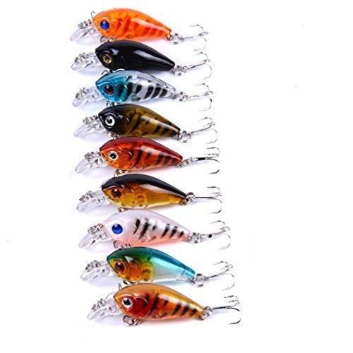 Aorace 9 PC/Los Crankbait Fischen-Köder 10 # Haken Fisch Wobbler Tackle Crank Bait Isca Artificial harten Köder Swimbait 4.5cm 4G