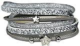 Mevina Damen Strass Armband Wickelarmband Leder Stern Magnetverschluss Shamballa Sternarmband Anthrazit A1207