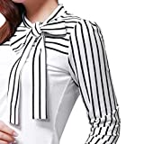 C'est modische Damen-Bluse, sexy und elegant, langärmlig, gestreift mehrfarbig weiß m