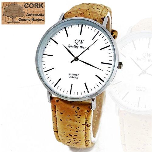 BazarTamara✮ Relojes de Pulsera, Reloj de Hombre Exclusivo Pulsera de Corcho Natural Reloj Analógico con Esfera Blanca