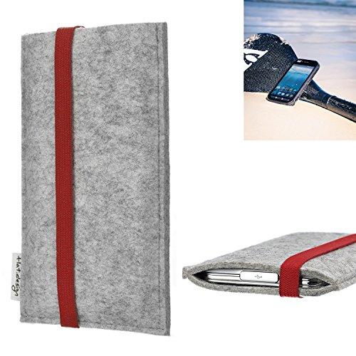 flat.design Handy Hülle Coimbra für Caterpillar Cat S41 individualisierbare Handytasche Filz Tasche rot grau
