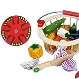 LVPY Spiel-Lebensmittel Set, 12-TLG Obst Gemüse Spielzeug Küchenspielzeug aus Holz Lebensmittel Kinderküche Schneiden