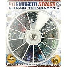 STRASS Termoadesivi SS10 3mm 1440pz ruota 11 Colori mix adesivi hotfix brillantini applicatore
