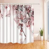 Rrfwq Blume, Peach Blossom mit Schmetterling, Duschvorhang 180x 180cm Schimmel Wasserdicht Polyester-Gewebe Vorhänge mit Deko-Haken.