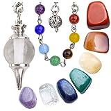 Jovivi Joyería de curación cristales de 7Chakra Tumbled piedras y cristal de roca Cuarzo radioestésica péndulo Chakra Colgante/pulsera