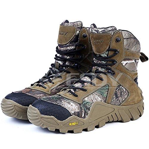 emansmoer Uomo High-top Lace-up Camo Militare Tattico Stivali Impermeabile Outdoor Scarpe da Trekking Escursionismo Caccia Camo