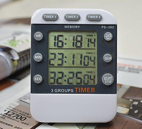Yotek Eieruhren Elektronischer 3-fach Timer mit Stoppuhr, Küchentimer Digital Timer mit großem Display & Alarm, Kurzzeitmesser mit Magnetische Rückseite, Anhänger & Faltständer