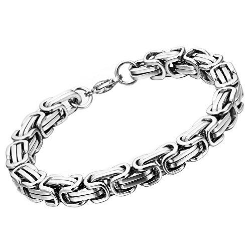 Oidea Königskette Armband Silber für Herren Edelstahl Herrenarmband Armreif Charmsarmband Armreif Armschmuck Armkette (Königskette Armband)