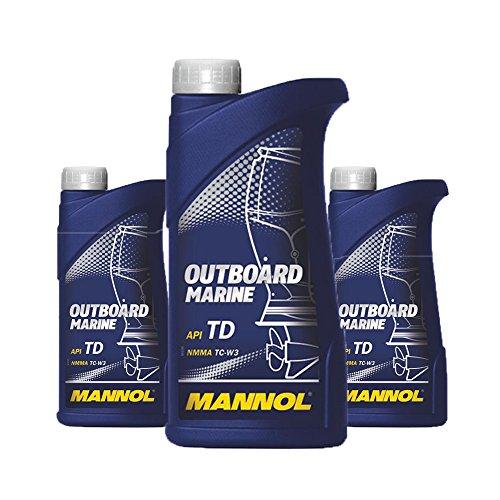 MANNOL 3 x 1L Outboard Marine 2-Takt/API TD NMMA TC-W3 Bootsmotorenöl (Outboard-Öl)