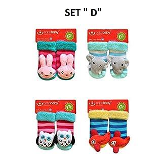 3D Rasselsocken Babysocken Kindersocken Spielsocken Söckchen Gr. 11 cm- 4 Stk. pro Set // Ideale Geschenkidee // (Set D)